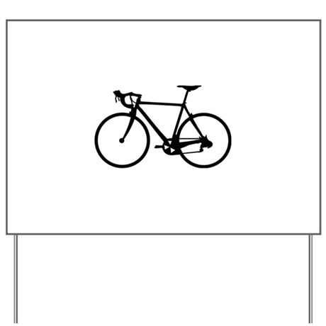 Racer Bicycle black Yard Sign