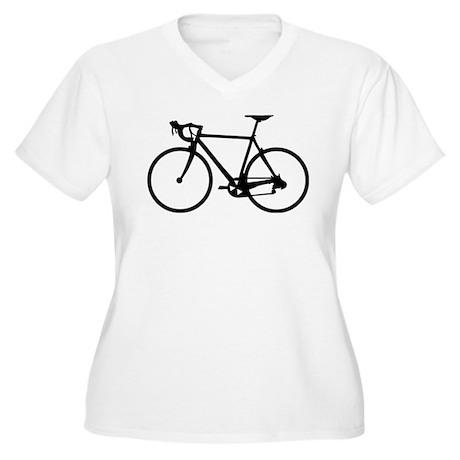 Racer Bicycle black Women's Plus Size V-Neck T-Shi