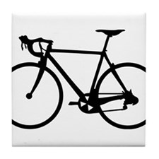 Racer Bicycle black Tile Coaster