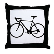 Racer Bicycle black Throw Pillow