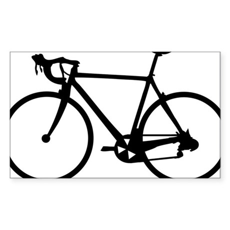 Racer Bicycle black Rectangle Sticker