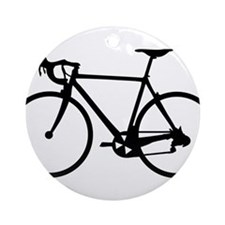 Racer Bicycle black Ornament (Round)