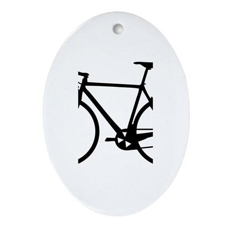 Racer Bicycle black Oval Ornament
