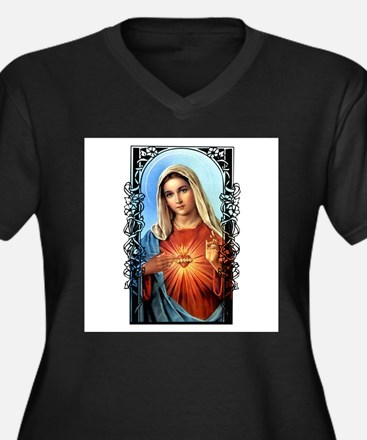 Cute Blessed virgin mary Women's Plus Size V-Neck Dark T-Shirt