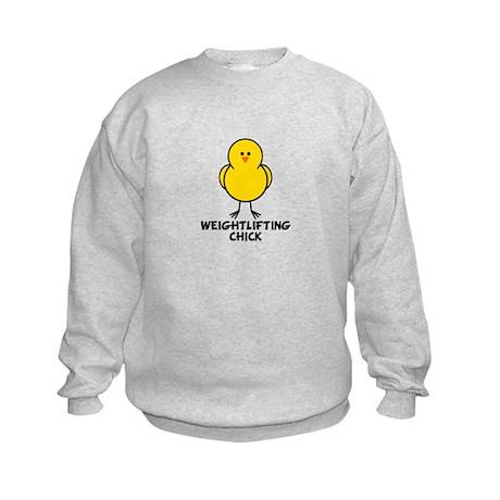 Weightlifting Chick Kids Sweatshirt