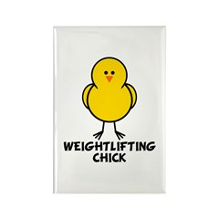 Weightlifting Chick Rectangle Magnet