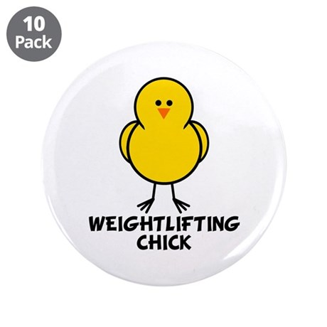 """Weightlifting Chick 3.5"""" Button (10 pack)"""