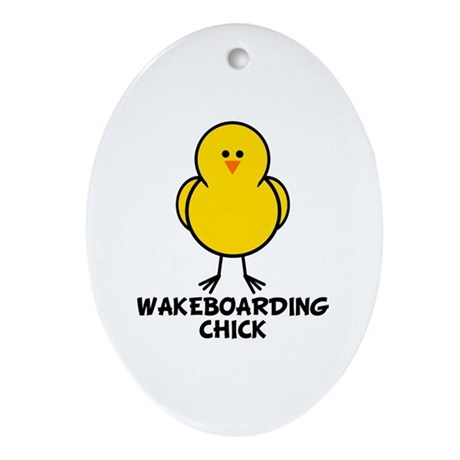 Wakeboarding Chick Oval Ornament