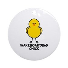 Wakeboarding Chick Ornament (Round)