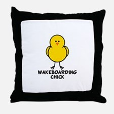 Wakeboarding Chick Throw Pillow