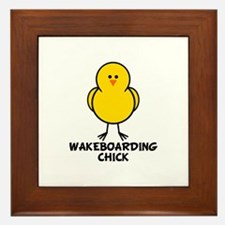 Wakeboarding Chick Framed Tile