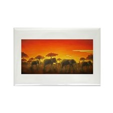 Elephants at Sunset Rectangle Magnet