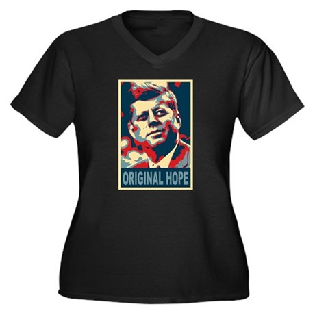 JFK ORIGINAL HOPE Pop Art Women's Plus Size V-Neck
