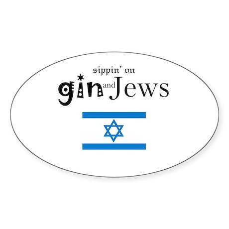 GinAndJews.com Oval Sticker