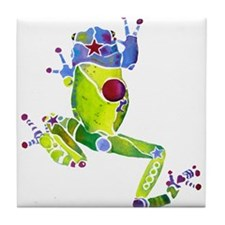 Frog Spring Green Tile Coaster