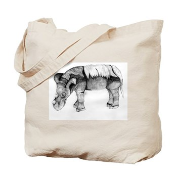 Emi, The Sumatran Rhino Tote Bag by Lina Johnson