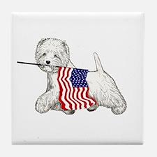 Patriotic Westie Tile Coaster