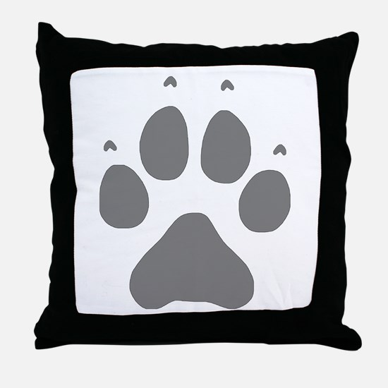 Wolf Paw Print Throw Pillow