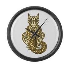 Knot Striped Cream Cat 2 Large Wall Clock