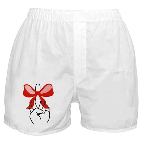 middle finger red Christmas bow Boxer Shorts