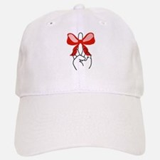 middle finger red Christmas bow Baseball Baseball Cap