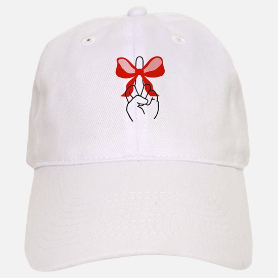 middle finger red Christmas bow Cap