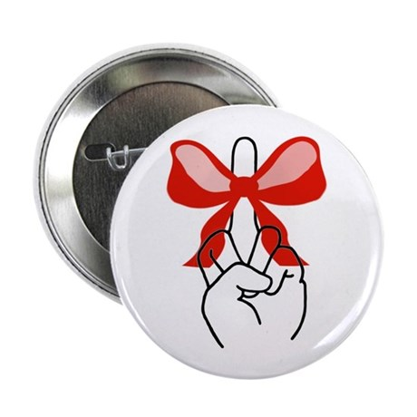 """middle finger red Christmas bow 2.25"""" Button (10 p"""