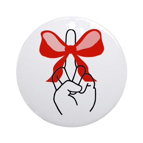 middle finger red Christmas bow Ornament (Round)