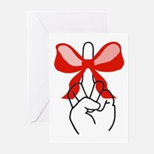 middle finger red Christmas bow greeting cards