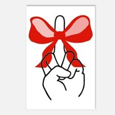 middle finger red Christmas bow postcards