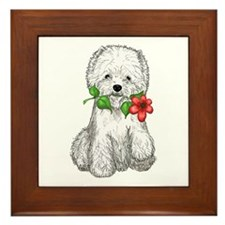 Westie with Flower Framed Tile
