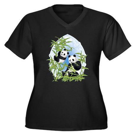 Panda Bears Women's Plus Size V-Neck Dark T-Shirt