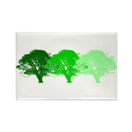 3 Trees Silhouette Rectangle Magnet