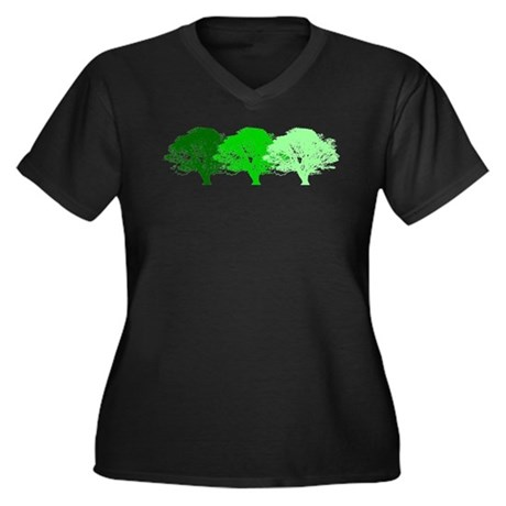 3 Trees Silhouette Women's Plus Size V-Neck Dark T