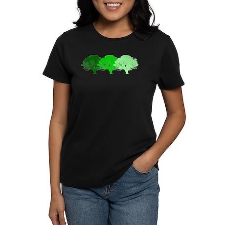 3 Trees Silhouette Women's Dark T-Shirt