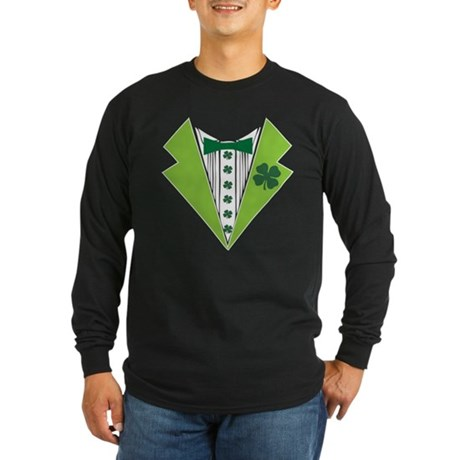 St. Patrick's Day Tuxedo Shir Long Sleeve Dark T-S