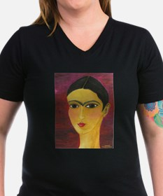 Women's V-Neck Freida Kahlo Dark T-Shirt