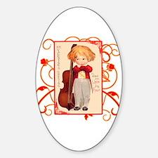 Very Cute Retro Valentine Oval Decal