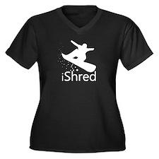 Snow Board Women's Plus Size V-Neck Dark T-Shirt
