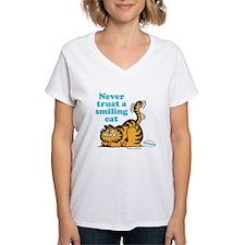 Smiling Cat Women's V-Neck T-Shirt