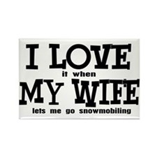 I Love My Wife Snowmobiling Rectangle Magnet