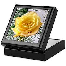 Yellow Rose Flower Keepsake Box