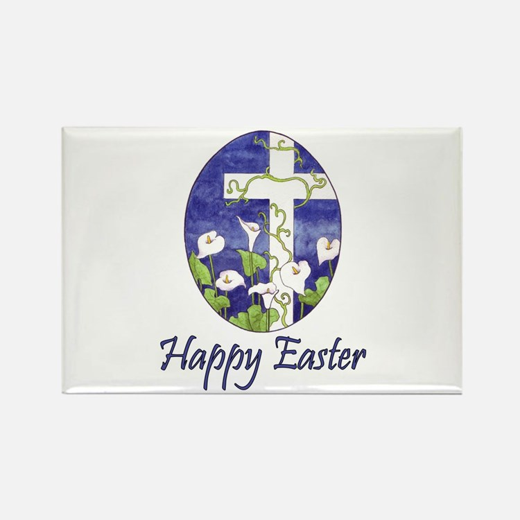 Easter Lily Cross Rectangle Magnet