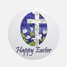 Easter Lily Cross Ornament (Round)