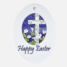 Easter Lily Cross Oval Ornament