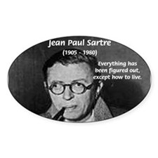 Existentialist Jean-Paul Sartre Oval Decal