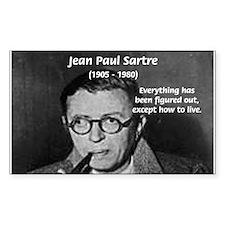 Existentialist Jean-Paul Sartre Sticker (Rectangul