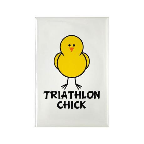 Triathlon Chick Rectangle Magnet
