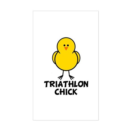 Triathlon Chick Rectangle Sticker