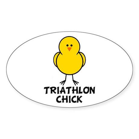Triathlon Chick Oval Sticker